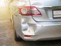 Acidente na estrada, acidente de trânsito do acidente de viação para o seguro Fotos de Stock Royalty Free