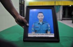 Acidentes de aviação militares em Indonésia que mata 135 Fotografia de Stock
