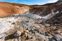 acidic gorące wiosny w Krysuvik terenie, Iceland Obrazy Stock
