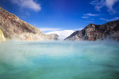 Acidic Lake at Kawah Ijen Volcano, East Java, Indonesia. The turquoise-colored waters of Ijen Lake, the world's largest acidic lake, inside the crater of Kawah stock photography