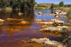 Acidic rio () flod Tinto i Niebla (Huelva) Royaltyfria Foton