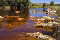 Acidic rio ()river Tinto in Niebla (Huelva) Royalty Free Stock Photos