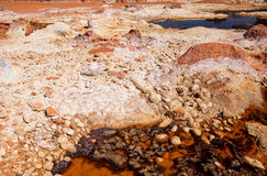 Acidic river rio Tinto. With many bacteria and archaea in it, Niebla royalty free stock image