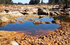 Acidic river Tinto in Niebla (Huelva) Royalty Free Stock Images