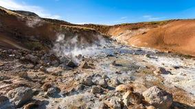 acidic wiosny w Krysuvik terenie, Iceland Zdjęcie Royalty Free