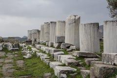 佩尔加蒙Acient市上城历史城堡专栏 库存照片