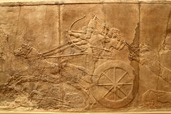 Acient Assyrian art 3. This ancient Assyrian art shows a lion hunt royalty free stock photo