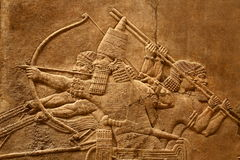 Acient Assyrian art 5. This ancient Assyrian art shows a lion hunt Stock Photography