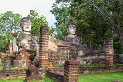 Acient buddha statue in Kamphaeng Phet Historical Park. (a part of the UNESCO World Heritage Site Historic Town of Sukhothai and Associated Historic Towns) Stock Image