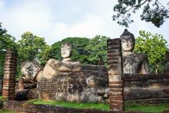 Acient buddha statue in Kamphaeng Phet Historical Park Royalty Free Stock Images