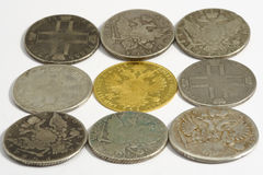 Acient coins. On the white background Royalty Free Stock Image