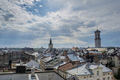 Acient Lviv city landscape view. In Ukraine Royalty Free Stock Images