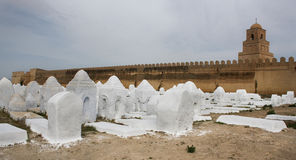 Acient muslim cemetery, Kairouan mosque in Tunisia. Acient muslim cemetery across from the Kairouan mosque in Tunisia Royalty Free Stock Images
