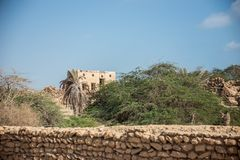 Acient ruins of the persian village. With trees Stock Images