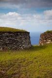Acient Steinhäuser von Ostern-Insel Stockbild