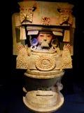 Acient Topf der Mexiko-Mayakunst mit Malereien des mayian Lebens Lizenzfreie Stockfotos