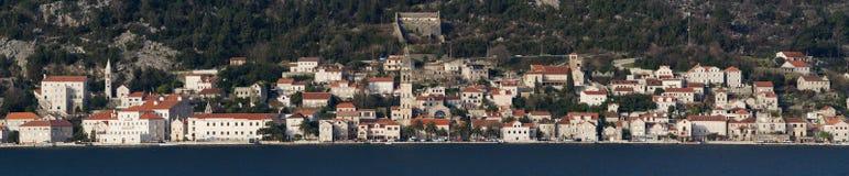 Acient town Perast in Montenegro. Panoramic view of  city Perast  in Montenegro Kotor bay Royalty Free Stock Photo