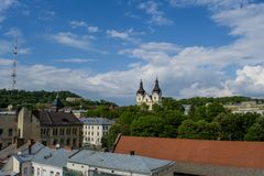 Acient town view from the roof. Of the house in Ukraine Royalty Free Stock Images