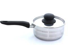 Acier inoxydable faisant cuire le pot sur le blanc Photo libre de droits