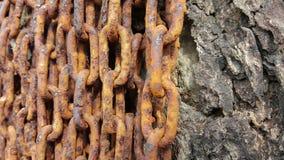Acier sale de vieille texture rouillée en gros plan de chaînes Photo libre de droits