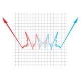 Acima de e para baixo gráfico do sucesso ou do Faliure Imagens de Stock