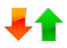 Acima de e para baixo seta Foto de Stock Royalty Free