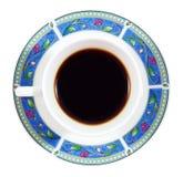 Acima do café em uma placa colorida isolada no branco Imagens de Stock