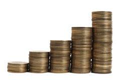 Acima do diagrama do dinheiro sobre o branco Fotos de Stock Royalty Free
