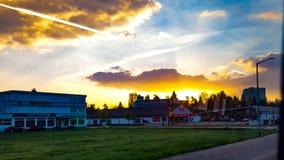 Acima do nascer do sol iluminado fotos de stock