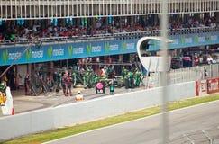 Acing car in  lock-up garage during The Formula 1 Stock Image