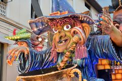 Allegorical float depicting witch. Acireale CT, Italy - February 11, 2018: detail of a allegorical float depicting witch during the carnival parade along the Stock Photo