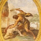 ACIREALE, ITALIË: De freskomoord van Abel in Duomo - cattedrale Di Maria Santissima Annunziata door Pietro Paolo Vasta stock afbeeldingen