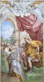 ACIREALE, ITALY - APRIL 11, 2018: The fresco of David and Abigail in church Chiesa di San Camillo by Pietro Paolo Vasta, 18. cent. ACIREALE, ITALY - APRIL 11 royalty free stock images