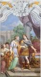 ACIREALE, ITALY - APRIL 11, 2018: The fresco of Esther and king Xerxes in church Chiesa di San Camillo by Pietro Paolo Vasta. 1745 - 1750 royalty free stock photos