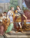 ACIREALE, ITALY - APRIL 11, 2018: The fresco of Esther and king Xerxes in church Chiesa di San Camillo by Pietro Paolo Vasta. 1745 - 1750 stock image