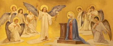 ACIREALE, WŁOCHY, 2018: Fresk Annunciation w Duomo - cattedrale Di Maria Santissima Annunziata Giuseppe Sciuti zdjęcie royalty free