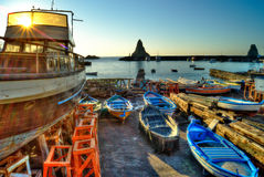 Acitrezza harbor with old boat Royalty Free Stock Photo