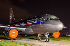 A319 ACJ Czech Air Force. PRAGUE, CZECH REPUBLIC - JUNE 09: Czech goverment's aircraft Airbus A319-115(CJ) stands at the Prague - Kbely Airport during the Prague Royalty Free Stock Image
