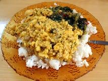 Ackee Reis und callaloo Stockbild