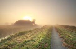 Ackerland bei nebelhaftem Sonnenaufgang Stockbilder