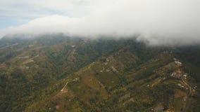 Ackerland in den Bergen im Nebel und in den Wolken Bali, Indonesien Lizenzfreies Stockbild