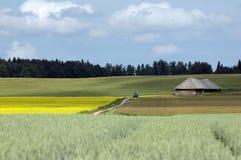 Ackerland des Feldes, des Häuschens und des Schmutzes Lizenzfreies Stockfoto
