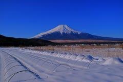 Ackerland des schneebedeckten blauen Himmels Oshino-Dorfs und des Mt Fuji Japan Lizenzfreie Stockfotos