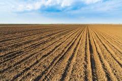 Ackerland am Frühling, landwirtschaftliche Landschaft Lizenzfreies Stockfoto