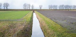 Ackerland geteilt durch einen Abzugsgraben Lizenzfreies Stockfoto