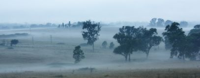 Ackerland im Morgen-Nebel Lizenzfreie Stockfotografie