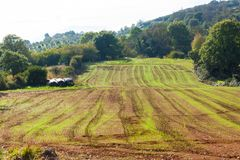Ackerland mit fruchtbarem Boden in Asturien Lizenzfreie Stockbilder