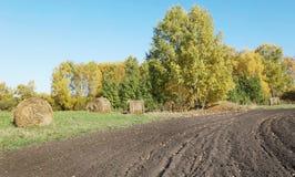 Ackerland mit gepflogenem Feld und Heu rollt im Herbst Stockfotos
