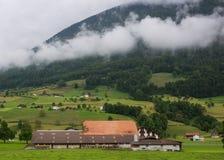 Ackerland mit Haus und Tieren Stockfotografie