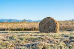 Ackerland mit Heuschobern im Herbst Stockfotografie